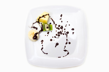 Dish with fruit and chocolate