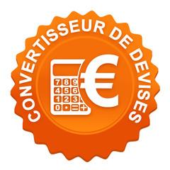 convertisseur de devises sur bouton web denté orange