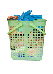used clothes in plastic basket wait for washing