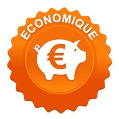 économique sur bouton web denté orange