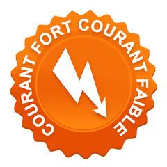 électricien courant fort et faible sur bouton web denté orange