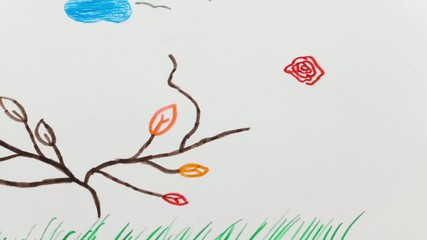 Child drawing pictures appear on the paper