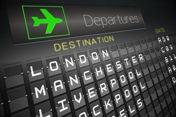 Black departures board for england