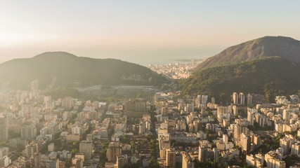 Rio Cityscape Time Lapse Sunrise Panning