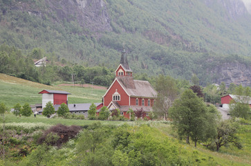 In river Oldeelva valley. Olden, Norway
