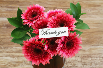 Thank you card with dark pink gerbera daisies