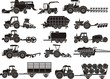 agricultural machine silhouettes set - 66440076