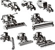 agricultural machine silhouettes set - 66440083
