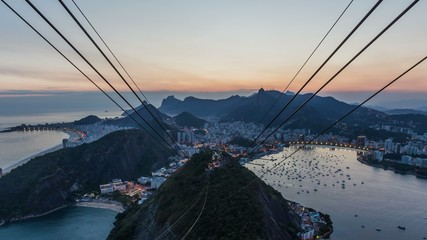 Rio Cityscape Time Lapse Twilight Zoom