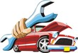 old cartoon car keep wrench in hand
