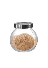 brown sugar in bottle on white background