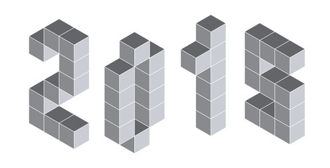 2015 digits from isometric cubes. Pseudo three dimensional