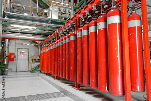 Large CO2 fire extinguishers in a power plant - 66440614