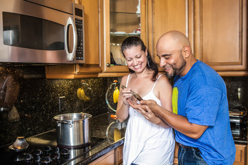 Couple at the kitchen - stock image