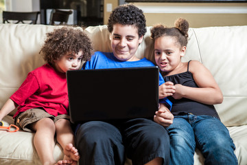 children using computer - stock image