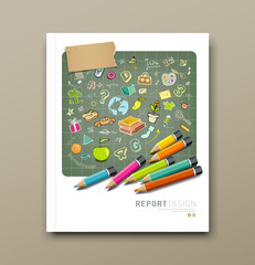 Cover report sketch hand drawn education icons