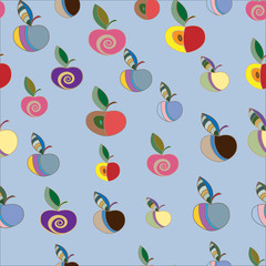 Seamless pattern with colorful decorative apples.