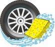 car whhel with washing sponge