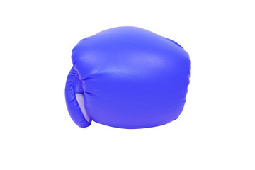 isolated blue boxing glove in white background
