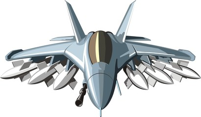 military combat jet with many weapons missiles and gun