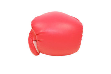 isolated red boxing glove in white background