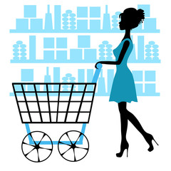 Girl with shopping cart in the store