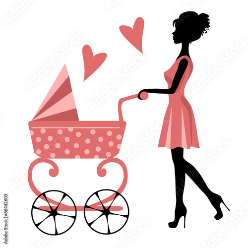 silhouette of a girl with a stroller