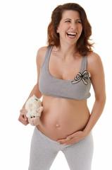 Schwangere Frau mit Plüschtier