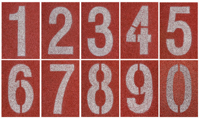 Collection of 0 to 9 ,Numbers on red running track