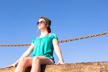 Teen Girl Blue Sky Seated Relaxing Sun-rays,