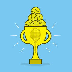 Golden tennis award trophy blue background