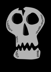doodle style skull