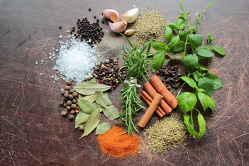 Herbs and spices. Food ingredients.