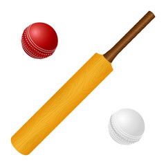 Vector illustration with cricket bat and red, white ball