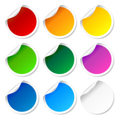 Set of colorful round labels