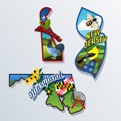 New Jersey, Delaware, Maryland retro state facts Illustrations