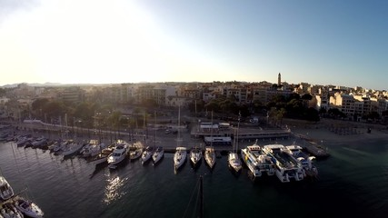 Great Sunset View of Portocristo - Aerial Flight, Mallorca