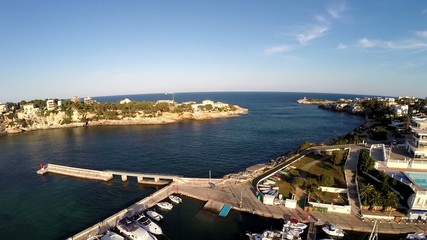 Harbor of Portocristo from the Air - Aerial Flight, Mallorca