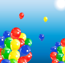 Colorful  balloons on blue sky background, vector illustration