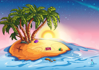 Illustration island with palm trees and treasure in the ocean