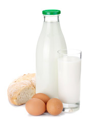 Milk bottle, glass, bread and eggs