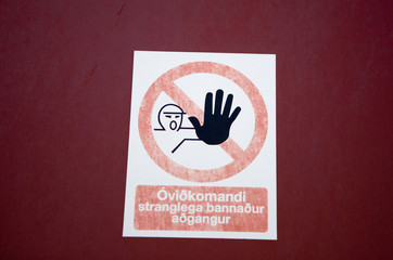 Keep Out Sign - Icelandic