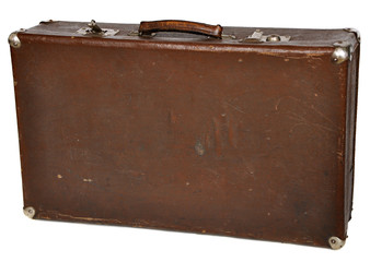 Vintage brown suitcase isolated on white background. clipping