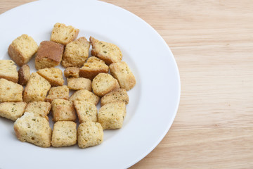 Salad Croutons on a White Plate