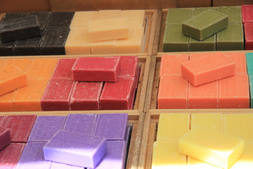 French soap at a market stall
