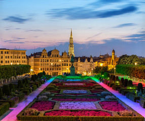 View of Brussels city center in the evening