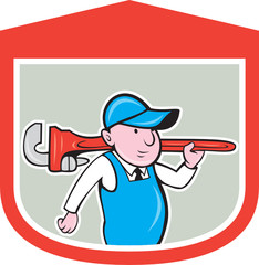Plumber Holding Big Monkey Wrench Shield Cartoon