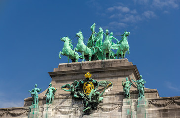Sculptures on Cinquantenaire Arch in Brussels, Belgium