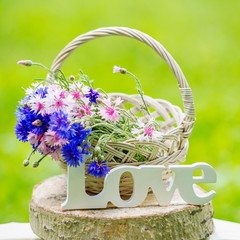 Beautiful flowers in the basket and word Love