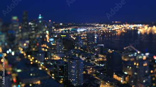 Foto op Aluminium New York Seattle Cityscape Time Lapse Night Tilt Shift
